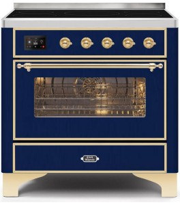 Ilve UMI09NS3WHG Majestic II Series 36 Inch Freestanding Electric Induction Range in White with Brass Trim