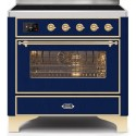 Ilve UMI09NS3MBG Majestic II Series 36 Inch Freestanding Electric Induction Range in Midnight Blue with Brass Trim