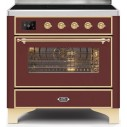 Ilve UMI09NS3BUG Majestic II Series 36 Inch Freestanding Electric Induction Range in Burgundy with Brass Trim
