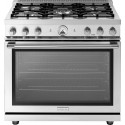 """Superiore RL361GPSS 36"""" LA CUCINA Series Panorama Freestanding Gas Range with Convection, 5 Sealed Burners, Stainless Steel"""