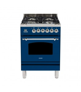 Hallman HGR24CMBULP 24 in. 2.4 cu. ft. Single Oven Gas Range with True Convection, 4 Burners, Chrome Trim in Blue