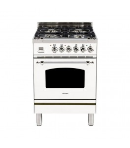 Hallman HGR24CMWTLP 24 in. 2.4 cu. ft. Single Oven Gas Range with True Convection, 4 Burners, Chrome Trim in White