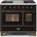 Ilve UMD10FDNS3BKBLP Majestic II Series 40 Inch Freestanding Dual Fuel Range in Glossy Black with Bronze Trim with LP