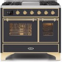 Ilve UMD10FDNS3MGGLP Majestic II Series 40 Inch Freestanding Dual Fuel Range in Matte Graphite with Brass Trim with LP