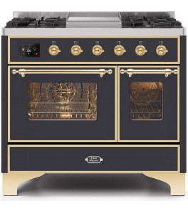 Ilve UMD10FDNS3WHG Majestic II Series 40 Inch Freestanding Dual Fuel Range in White with Brass Trim with Natural Gas