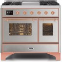 Ilve UMD10FDNS3SSPLP Majestic II Series 40 Inch Freestanding Dual Fuel Range in Stainless Steel with Copper Trim with LP