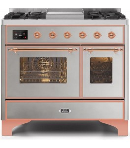 Ilve UMD10FDNS3WHP Majestic II Series 40 Inch Freestanding Dual Fuel Range in White with Copper Trim with Natural Gas