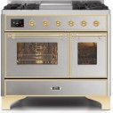 Ilve UMD10FDNS3SSGLP Majestic II Series 40 Inch Freestanding Dual Fuel Range in Stainless Steel with Brass Trim with LP