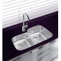 Ukinox D3766040L Undermount Double Bowl Stainless Steel Kitchen Sink