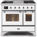 Ilve UMD10FDNS3WHC Majestic II Series 40 Inch Freestanding Dual Fuel Range in White with Chrome Trim with Natural Gas