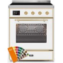 Ilve UMI30NE3RALG Majestic II Series 30 Inch Freestanding Electric Induction Range in Custom RAL with Brass Trim