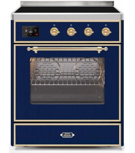 Ilve UMI30NE3AWG Majestic II Series 30 Inch Freestanding Electric Induction Range in Antique White with Brass Trim