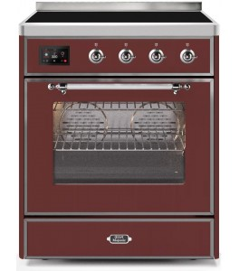 Ilve UMI30NE3AWC Majestic II Series 30 Inch Freestanding Electric Induction Range in Antique White with Chrome Trim