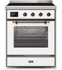 Ilve UMI30NE3AWB Majestic II Series 30 Inch Freestanding Electric Induction Range in Antique White with Bronze Trim
