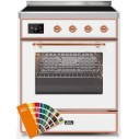 Ilve UMI30NE3RALP Majestic II Series 30 Inch Freestanding Electric Induction Range in Custom RAL with Copper Trim
