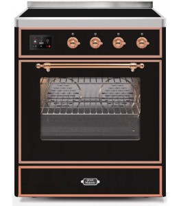 Ilve UMI30NE3AWP Majestic II Series 30 Inch Freestanding Electric Induction Range in Antique White with Copper Trim