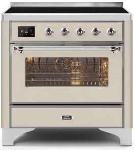 Ilve UMI09NS3AWC Majestic II Series 36 Inch Freestanding Electric Induction Range in Antique White with Brass Trim
