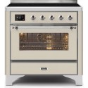 Ilve UMI09NS3AWC Majestic II Series 36 Inch Freestanding Electric Induction Range in Antique White with Chrome Trim