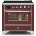 Ilve UMI09NS3BUC Majestic II Series 36 Inch Freestanding Electric Induction Range in Burgundy with Chrome Trim