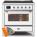Ilve UMI09NS3RALC Majestic II Series 36 Inch Freestanding Electric Induction Range in Custom RAL Color with Chrome Trim