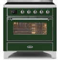 Ilve UMI09NS3EGC Majestic II Series 36 Inch Freestanding Electric Induction Range in Emerald Green with Chrome Trim