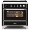 Ilve UMI09NS3BKC Majestic II Series 36 Inch Freestanding Electric Induction Range in Glossy Black with Chrome Trim