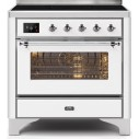Ilve UMI09NS3WHC Majestic II Series 36 Inch Freestanding Electric Induction Range in White with Chrome Trim