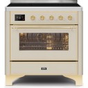 Ilve UMI09NS3AWG Majestic II Series 36 Inch Freestanding Electric Induction Range in Antique White with Brass Trim